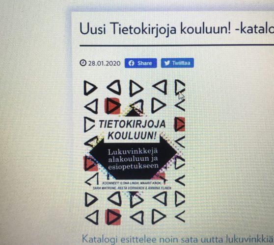 """Suomen tietokirjailijat suosittelee uudessa """"Tietokirjoja kouluun!"""" katalogissa """"Rakettimatka avaruuteen- Kaverina kaukoputkimies"""" kirjaa!"""