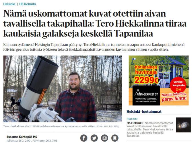 Haastattelu tähtiharrastuksestani Helsingin Sanomissa