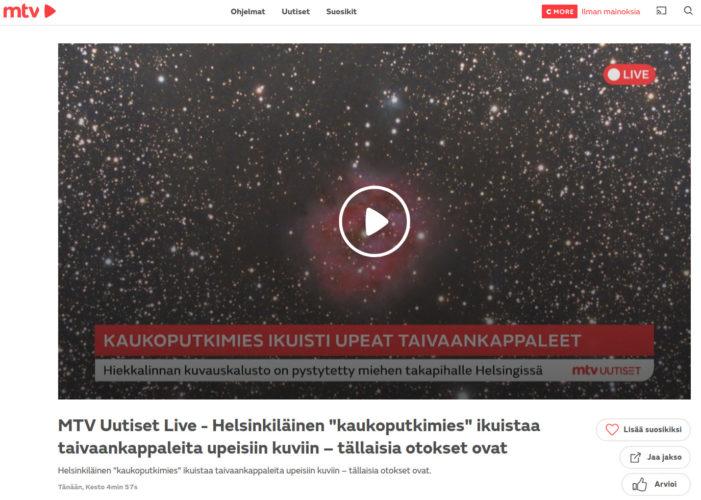 Haastattelu tähtikuvauksesta MTV Uutiset LIVE:ssä!
